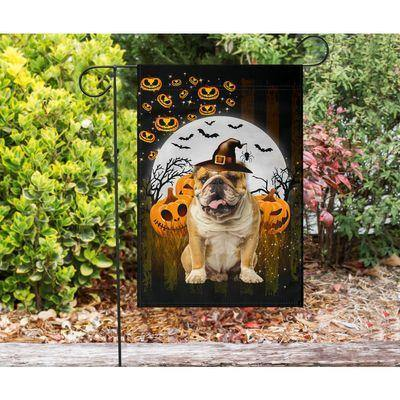 English Bulldog - Happy Halloween Flag - Garden flag House Flag