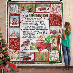 To My Grandson From Grandma Red Truck Christmas Blanket- Gift for Christmas, Birthday