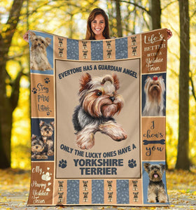 YORKSHIRE TERRIER BLANKET - CHRISTMAS GIFT - MY HAPPY YORKSHIRE TERRIER - Family Presents - Great Blanket, Canvas, Clothe, Gifts For Family