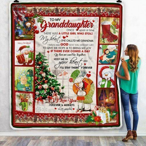 To My Granddaughter Christmas Blanket- Gift for Christmas, Birthday - I'll Stay There Forever