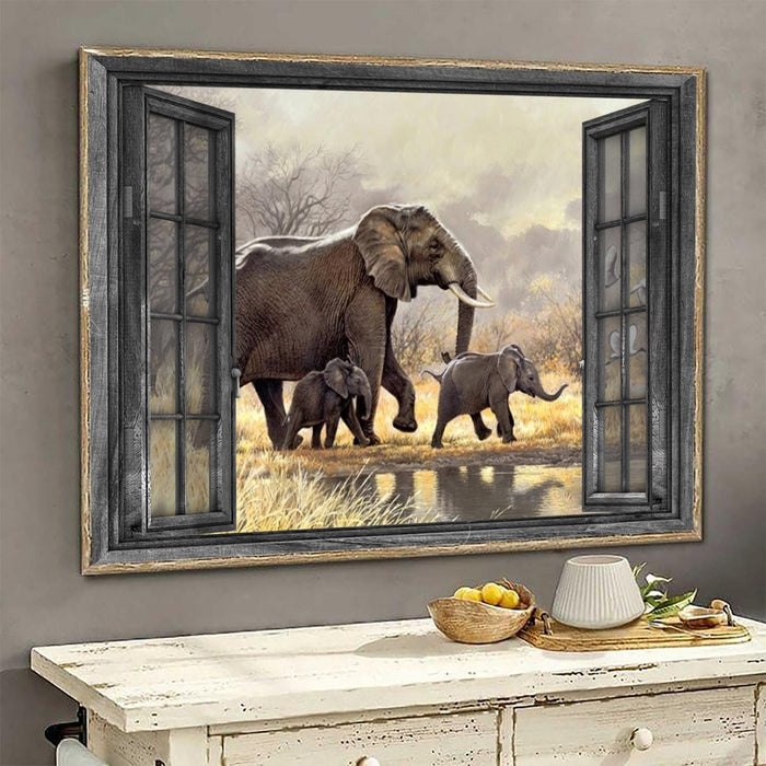LIMITED EDITION Horizontal Canvas Prints - Elephant window - Gift for Elephant lovers