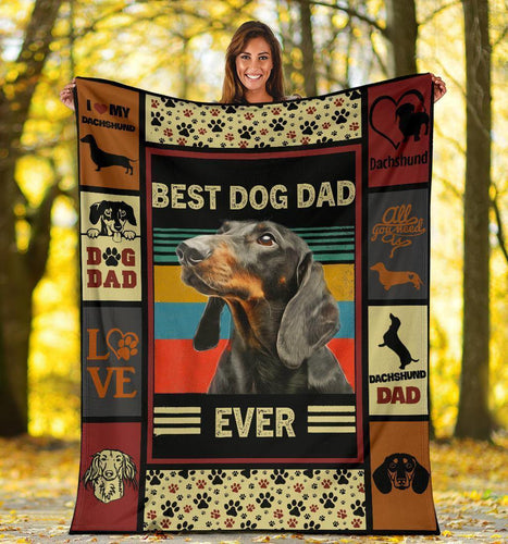 DACHSHUND BLANKET  - CHRISTMAS GIFT - BEST DOG DAD EVER