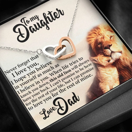 Lion To My Daughter Necklace  - This Old Lion Will Always Have Your Back - Birthday, Graduation Gift For Daughter From Dad