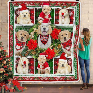 Golden Retriever Dog Merry Christmas Blanket - Gift for Christmas, Birthday