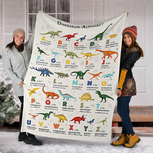 Dinasour Alphabet  Blanket  - Gift for Son/Grandson/Daughter/Granddaughter -  birthday, christmas day