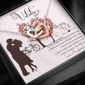 Interlocked Heart Necklace - To My Wife - Every Single Day - Valentine Gift For Wife, Girlfriend, Valentine GIft For Couple