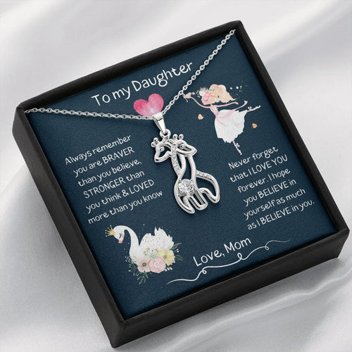 Giraffe To My Daughter Necklace Gift From Mom, I Hope You Believe In Yourself, Ballerina Necklace, Birthday Gift For Daughter