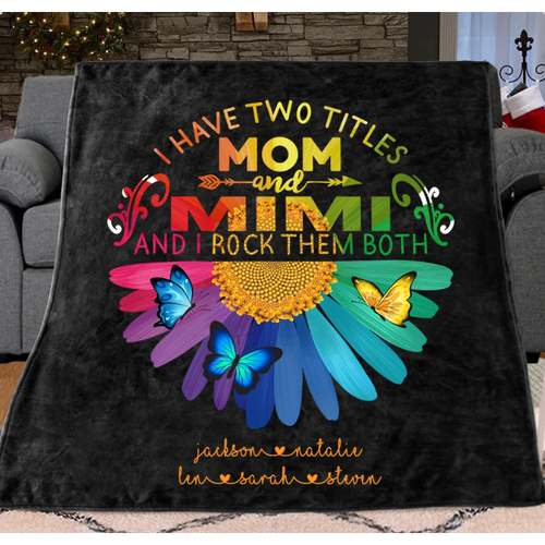 Personalized Daisy Fleece Blankets with Your Nick & Kids' Names - Gift for Mother and Grandma