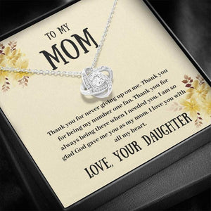 To My Mom - Thank You - Love Knot Necklace, Mom Gift From Daughter, Gifts For Mom, Mother's Day Gift, Birthday Gift For Mom, Mom Gift Ideas - Family Presents - Great Blanket, Canvas, Clothe, Gifts For Family