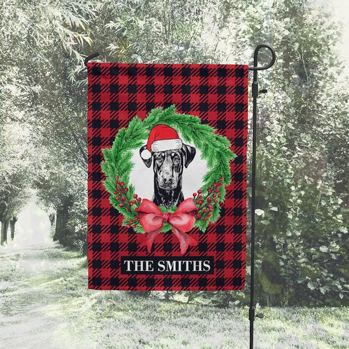 Doberman Pinscher Garden Flag, Dog Christmas Outdoor Decorations, Personalized House Flag, Custom Welcome Sign, Christmas Decor Gifts