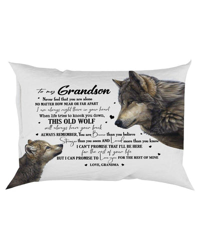 Canvas Pillow - THIS OLD WOLF - TO GRANDSON FROM GRANDMA