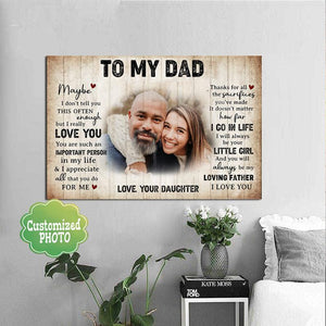 Personalized Photo Fathers Day Canvas - To My Dad I Will Always Be Your Little Girl - Fathers Day Gifts From Daughter Home Decor, Canvas Wall Art