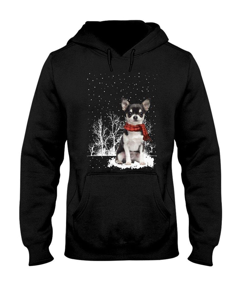 Snow Scarf - BLACK n WHITE Chihuahua Hooded Sweatshirt - Family Presents - Great Blanket, Canvas, Clothe, Gifts For Family