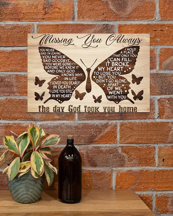 Missing You Always The Day God Took You Home Horizontal Canvas