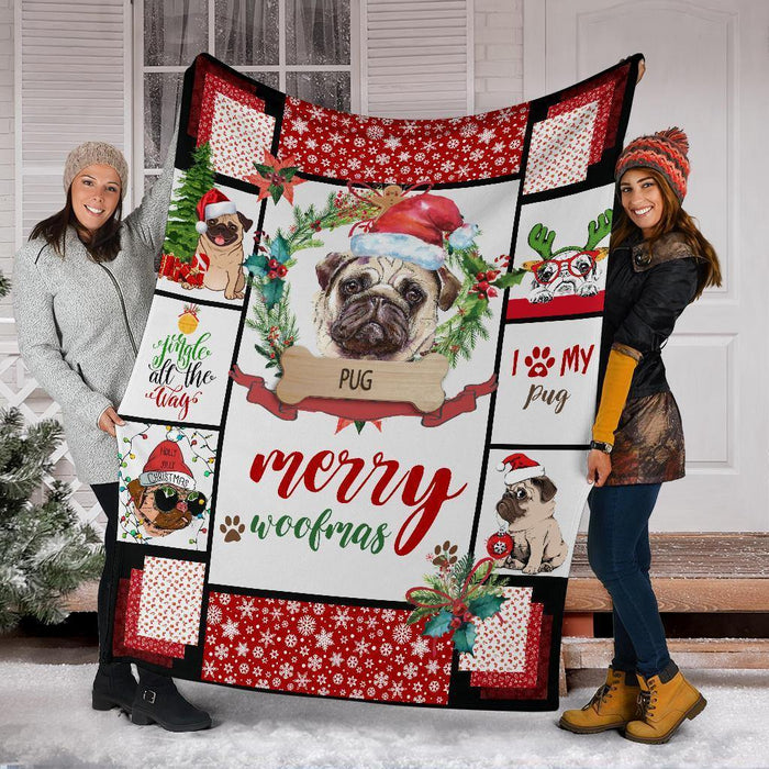 PUG BLANKET - CHRISTMAS, BIRTHDAY GIFT - MERRY WOOFMAS