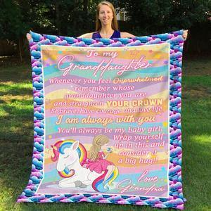 Grandma Unicorn Rainbow Blanket Gift For Girls - Gift for Christmas, Birthday - Family Presents - Great Blanket, Canvas, Clothe, Gifts For Family
