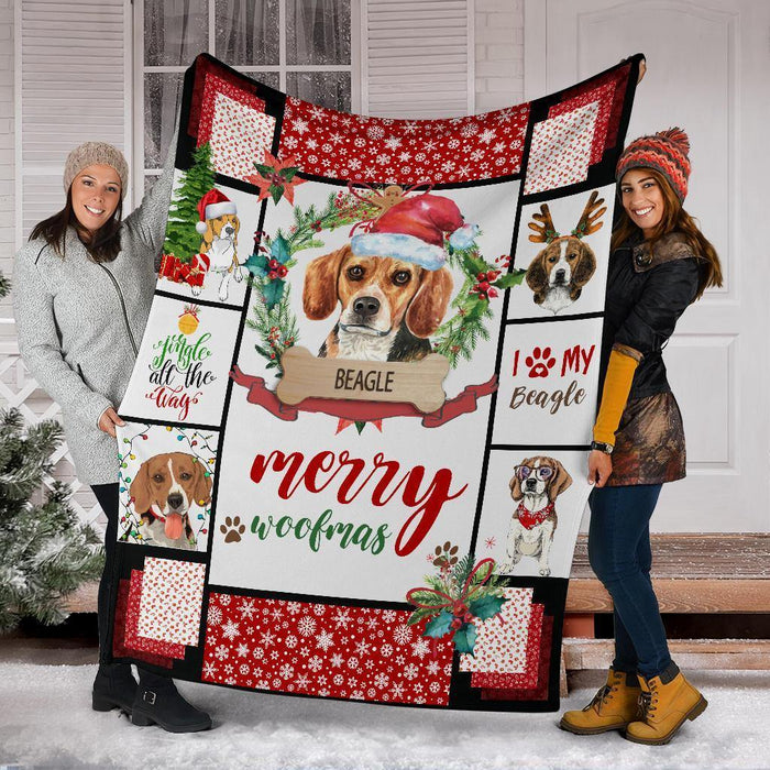 BEAGLE BLANKET - CHRISTMAS, BIRTHDAY GIFT - MERRY WOOFMAS