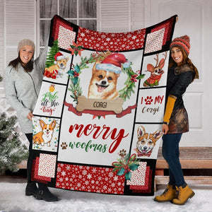 CORGI BLANKET - CHRISTMAS, BIRTHDAY GIFT - MERRY WOOFMAS - Family Presents - Great Blanket, Canvas, Clothe, Gifts For Family