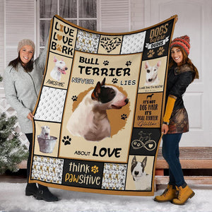 BULL TERRIER BLANKET - CHRISTMAS, BIRTHDAY GIFT - THINK PAWSITIVE