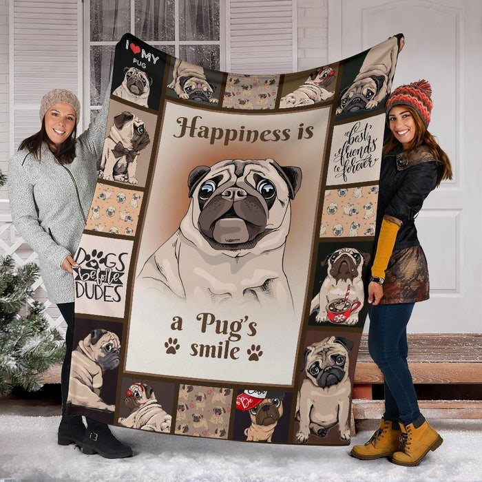 PUG BLANKET - CHRISTMAS, BIRTHDAY GIFT - A PUG'S SMILE