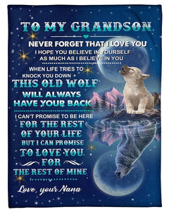 To My Grandson Blanket - Gift for Christmas, Birthday - This old wolf will always have your back