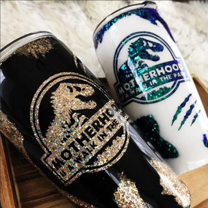 Motherhood Is A Walk In The Park Tumbler, Jurassic Park Tumbler, Custom Glitter Tumbler, Epoxy Dinosaur Cup, Mom Life Tumbler Mother'S Day Gift
