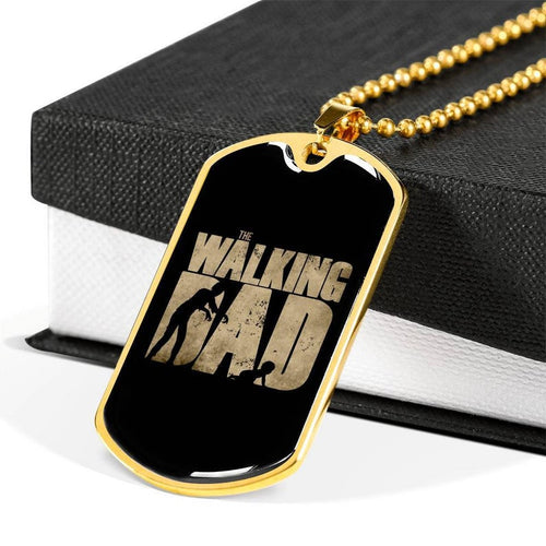 Personalized Fathers Day Necklace, The Walking Dad Military Style Personalized Dog Tag Pendant Necklace