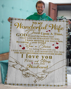Fleece blanket To my Wonderful Wife - Falling in love with you I had no control - Valentine gift for her