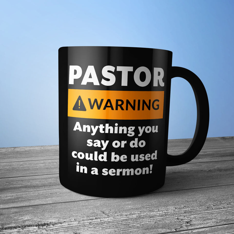 Pastor Warning - Black Mug