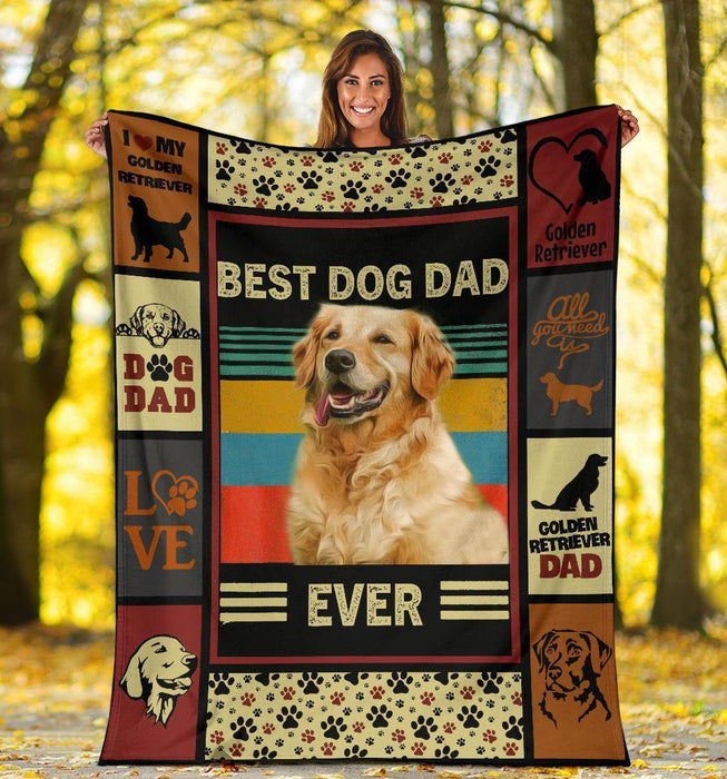 GOLDEN RETRIEVER BLANKET - CHRISTMAS, BIRTHDAY GIFT - BEST DOG DAD EVER