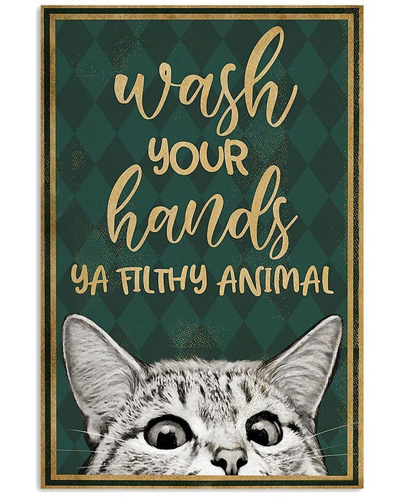 American Shorthair Cat Canvas Wall Art - Wash your hands - Anniversary Birthday Christmas Housewarming Gift Home