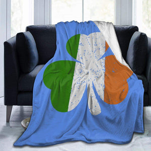 Ireland Shamrock Irish Flag Soft and Warm Throw Blanket Plush Bed Couch Living Room Fleece Blanket - Patrick's day blanket - Family Presents - Great Blanket, Canvas, Clothe, Gifts For Family