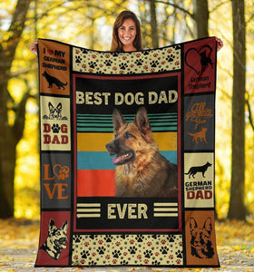 GERMAN SHEPHERD BLANKET - CHRISTMAS, BIRTHDAY GIFT - BEST DOG DAD EVER