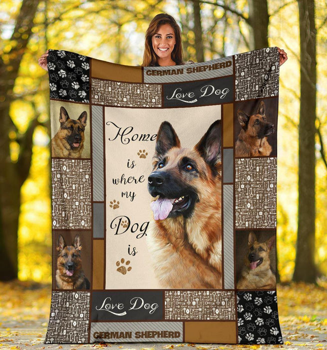 GERMAN SHEPHERD BLANKET - CHRISTMAS, BIRTHDAY GIFT - HOME IS WHERE MY DOG IS