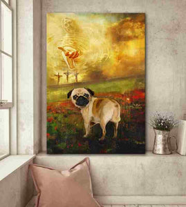 Jesus And Pug - To The Beautiful World Canvas Home Decor, Wall Art Decor