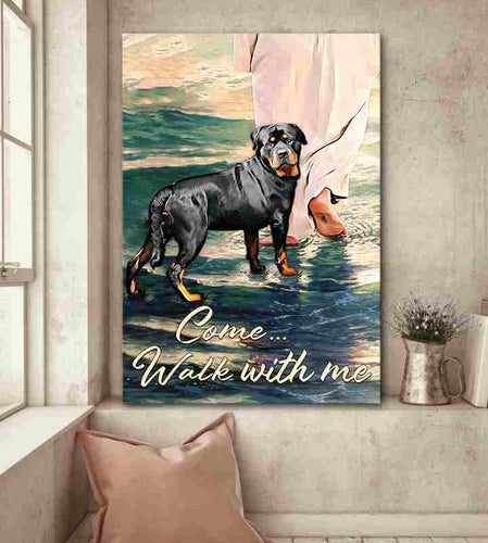 Rottweiler Walks With God Canvas Home Decor, Wall Art Decor