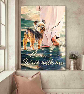 Yorkshire Terrier Walks With God Canvas Home Decor, Wall Art Decor