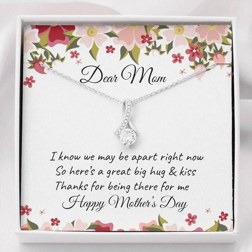 Mother's Day Necklace - Gift For Mother From Daughter - 14k White Gold Necklace - Thanks For Being There For Me
