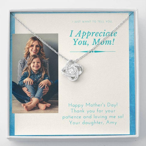 Personalized Mother's Day Necklace, Gift For Mom From Daughter - 14k White Gold Necklace, Thank You For Your Patience And Loving Me So
