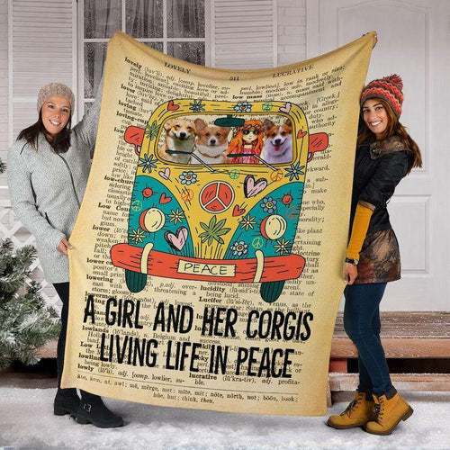 Corgi Peace Blanket - A Girl And Her Corgis Living Life In Peaces - Gift For Daughter - Christmas, Birthday Gift - Family Presents - Great Blanket, Canvas, Clothe, Gifts For Family