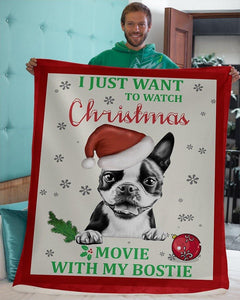 Watch Christmas movie with Boston Terrier Blanket  - Gift for Christmas, Birthday - Family Presents - Great Blanket, Canvas, Clothe, Gifts For Family