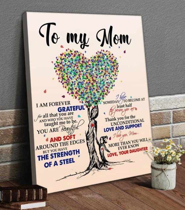Happy mother's day - To My Mom I Am Forever Grateful Canvas, Mom Canvas Art