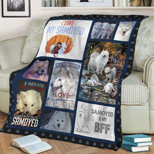 SAMOYED FAMILY SHERPA FLEECE BLANKET - Family Presents - Great Blanket, Canvas, Clothe, Gifts For Family