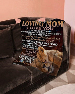 Fleece Blanket Lion Blanket - To my mom - Gift from daughter - GIft for birthday, Mother's day, Christmas - To me You are the world
