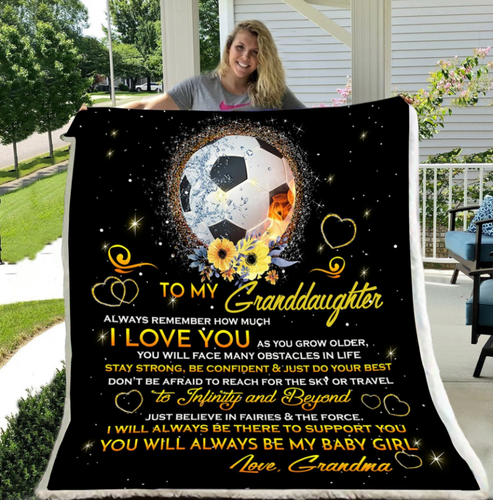 Football blanket - Gift for christmas - Grandma to granddaughter - I love you