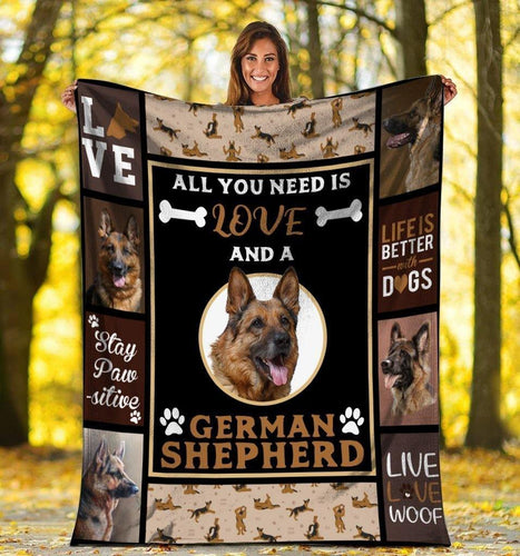 Dog Blanket All You Need Is Love And A German Shepherd Dog Fleece Blanket