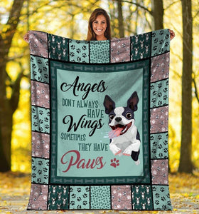 Dog Blanket Angels Don't Always Have Wings Boston Terrier Dog Fleece Blanket - Family Presents - Great Blanket, Canvas, Clothe, Gifts For Family