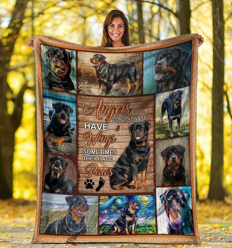 Dog Blanket Angels Don't Always Have Wings Rottweiler Dog Paw Fleece Blanket - Family Presents - Great Blanket, Canvas, Clothe, Gifts For Family