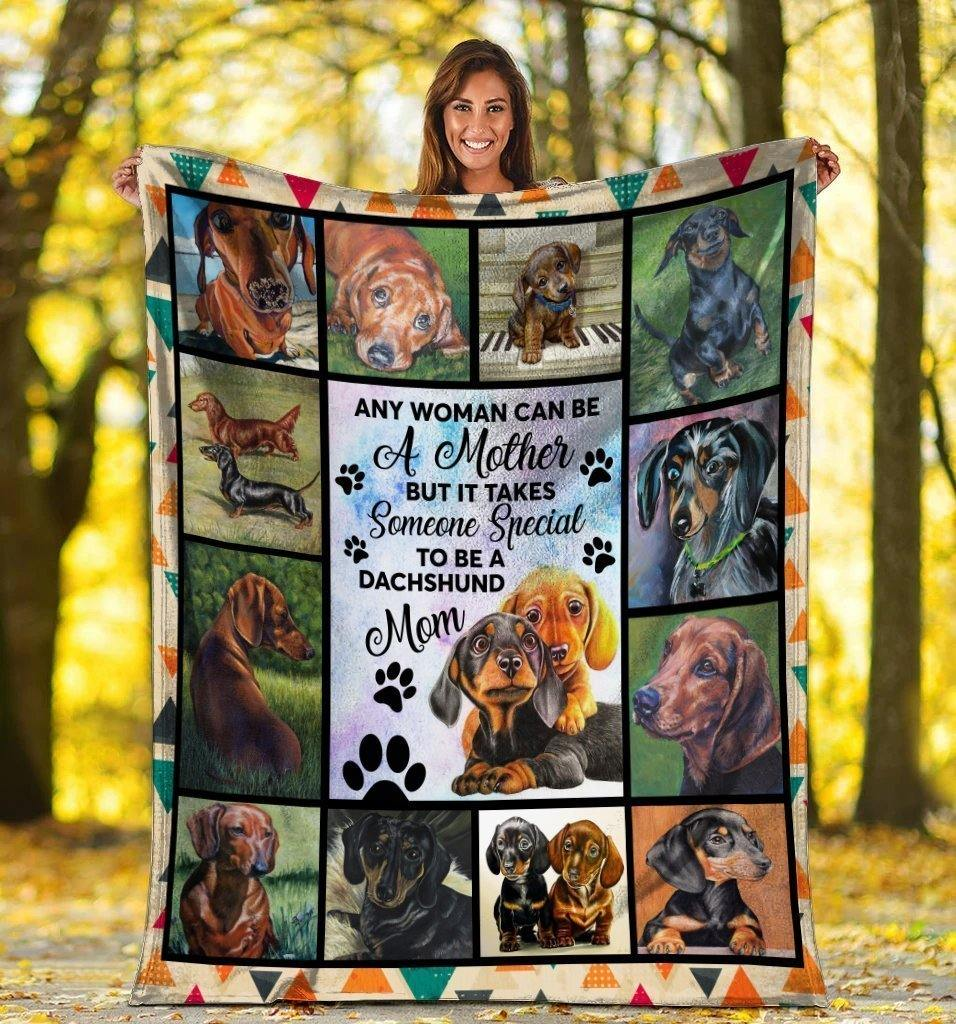 Dog Blanket Any Woman Can Be A Mother Dachshund Doxie Wiener Dog Mom Fleece Blanket