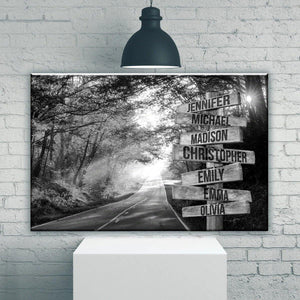 Black & White Road in Autumn multi-names custom personalized matte canvas